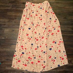 Vintage Blue & Red Poppy Floral Midi Skirt